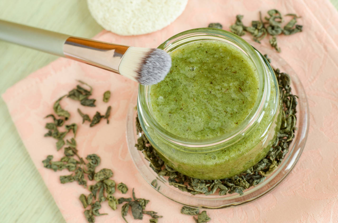 un masque pour les cheveux au thé vert