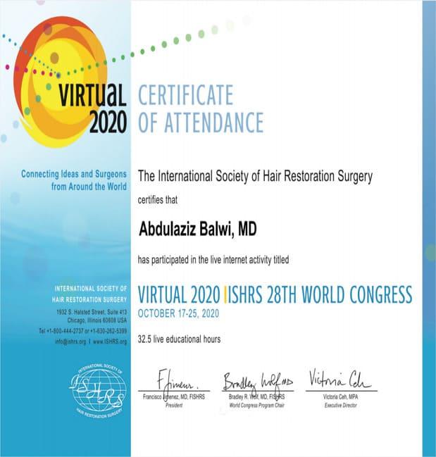 Certificato che attesta la partecipazione di Elithair al 28 congresso mondiale ISHRS