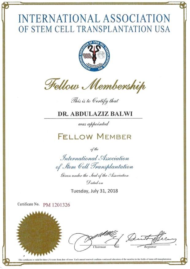 Certificazione Elithair come membro dell'associazione internazionale per trapianto di cellule staminali USA